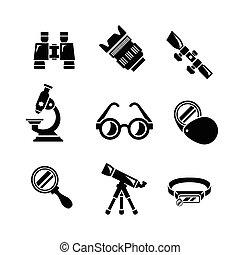 Set icons of optics equipment isolated on white