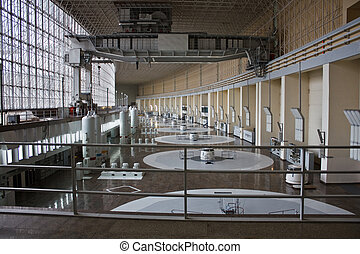 hydro power plant - russian hydro power plant machine hall...