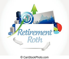 retirement roth business graphs illustration design over a...