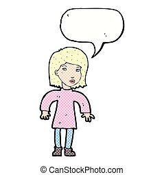 cartoon cautious woman with speech bubble