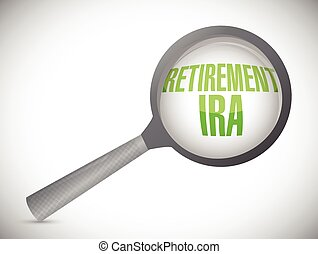 retirement ira magnify glass review illustration design over...