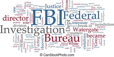 FBI word cloud - Word cloud concept illustration FBI Federal...
