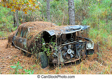 Abandoned Scrap Car - An old rusted out scrap car that has...