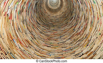 book tunnel in Prague library -- mirrors are used to create...