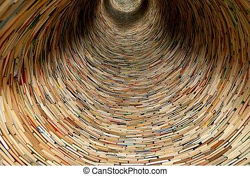 utilizado, espejos, esto, Praga, efecto, biblioteca, túnel,...