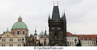 tower -- view from the Charles Bridge in Prague, Czech Republic