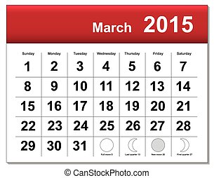 EPS10 file. March 2015 calendar. The EPS file includes the...