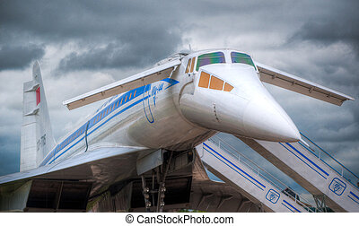 supersonic jet plane on the ground boarding with dramatic...