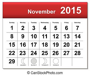 EPS10 file. November 2015 calendar. The EPS file includes...