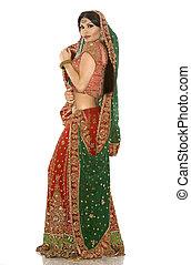 indian woman - beautiful indian woman wearing bridal outfit...