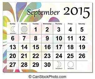 EPS10 file September 2015 calendar The EPS file includes the...