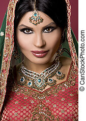 indian woman - beautiful indian woman wearing bridal outfit...