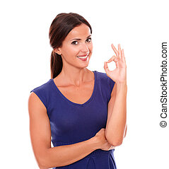 Happy single lady gesturing a great job while looking at you...