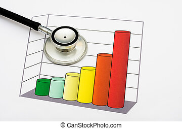 Increased Healthcare Ratings - A graph and stethoscope on a...