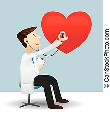 Doctor check heart - Vector illustration of doctor check...