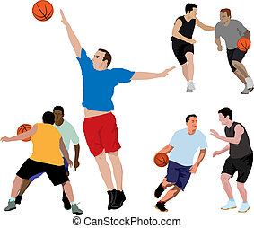 Basket ball collection - Color vector realistic illustration...