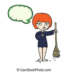 cartoon pretty witch girl with speech bubble
