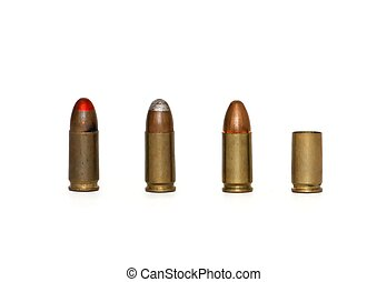 Row of three 9mm Parabellum cartridges of several types and spent case isolated