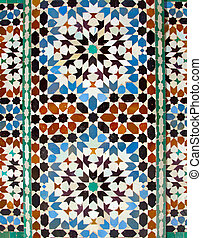 walll tiles at Ali Ben Youssef Madrassa in Marrakech,...