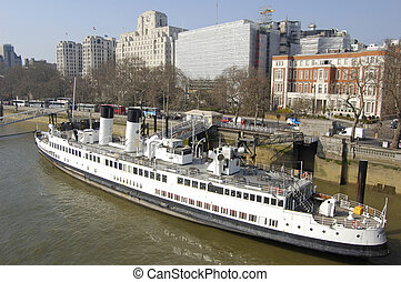 London - The SS Queen Mary at Victoria Embankment in London,...
