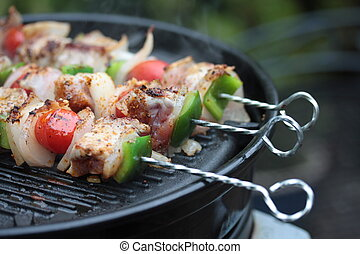 barbecue meat - barbecue shaslick with pork, onion, paprika...