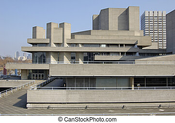 London-22-0041 - The National Theatre building on the South...