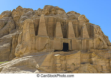 Rock Cut Tombs at Petra - Rock cut tombs in the ancient...