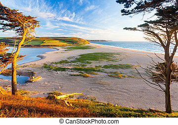 Loe Bar Cornwall England UK - Loe Bar and Loe Pool the...