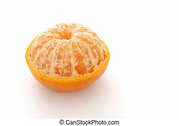 StillLife-17-0002 - Half-peeled mandarin orange isolated on...
