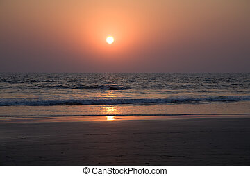 Sunset in Goa - Sunset on the beach in north Goa near the...