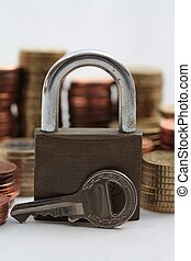 Financial market is locked - Lock and coins, conceptual...