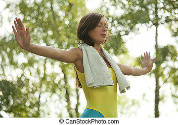 breathing exercises - fitness woman doing breathing...