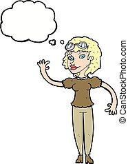 cartoon pilot woman waving with thought bubble