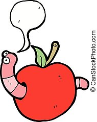cartoon worm in apple with speech bubble