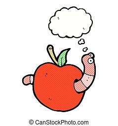 cartoon worm in apple with thought bubble