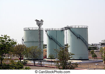 Petrol Storage Tanks - Huge petrol storage tanks at a petrol...