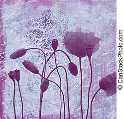 artwork background - collage painting with poppy flowers...
