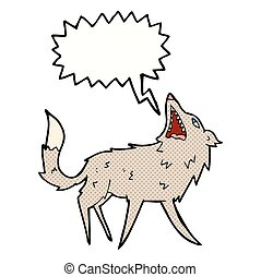 cartoon snapping wolf with speech bubble