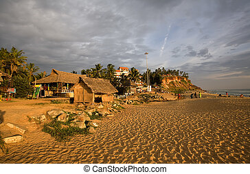Sunset in Kerala - Colorful sunset on the beach in the...