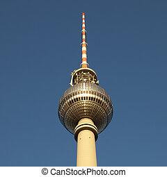 Berlin Fernsehturm television tower over blue sky