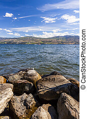 Rocky Shoreline of Mountain lake