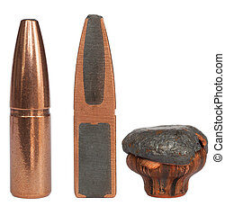 Bullet cutaway and mushroom - Sliced bullet with full size...