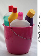 Cleaning utilities - Different detergent bottles in a bucket