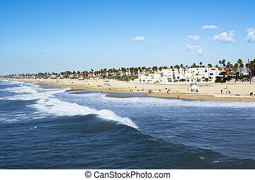 Huntington Beach shore - A panorama of the shoreline and...