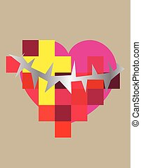 Christian heart icon - Heart love with cross and spine,...