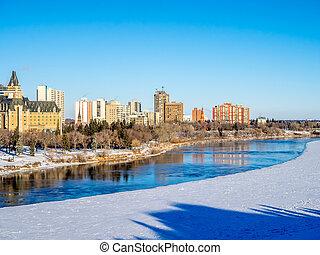 Saskatoon skyline - Saskatchewan River valley and Saskatoon...