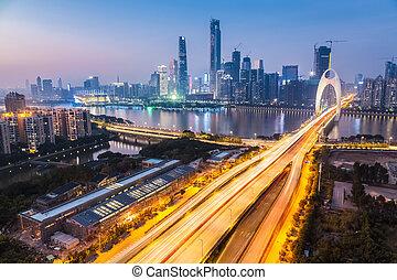 zhujiang new town in nightfall , beautiful the southern...