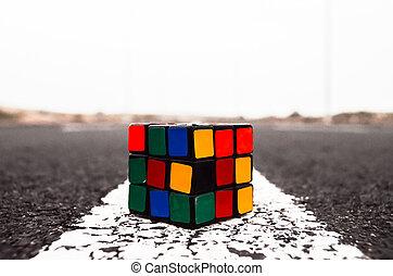 Rubik's Cube Solved on the Asphalt Road