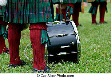 Cultural Scottish Kilt worn by a drummer in a bag-pipe band....
