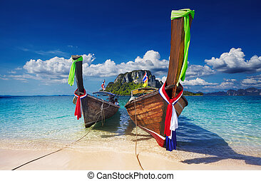 Tropical beach, Thailand - Longtail boats, Tropical beach,...
